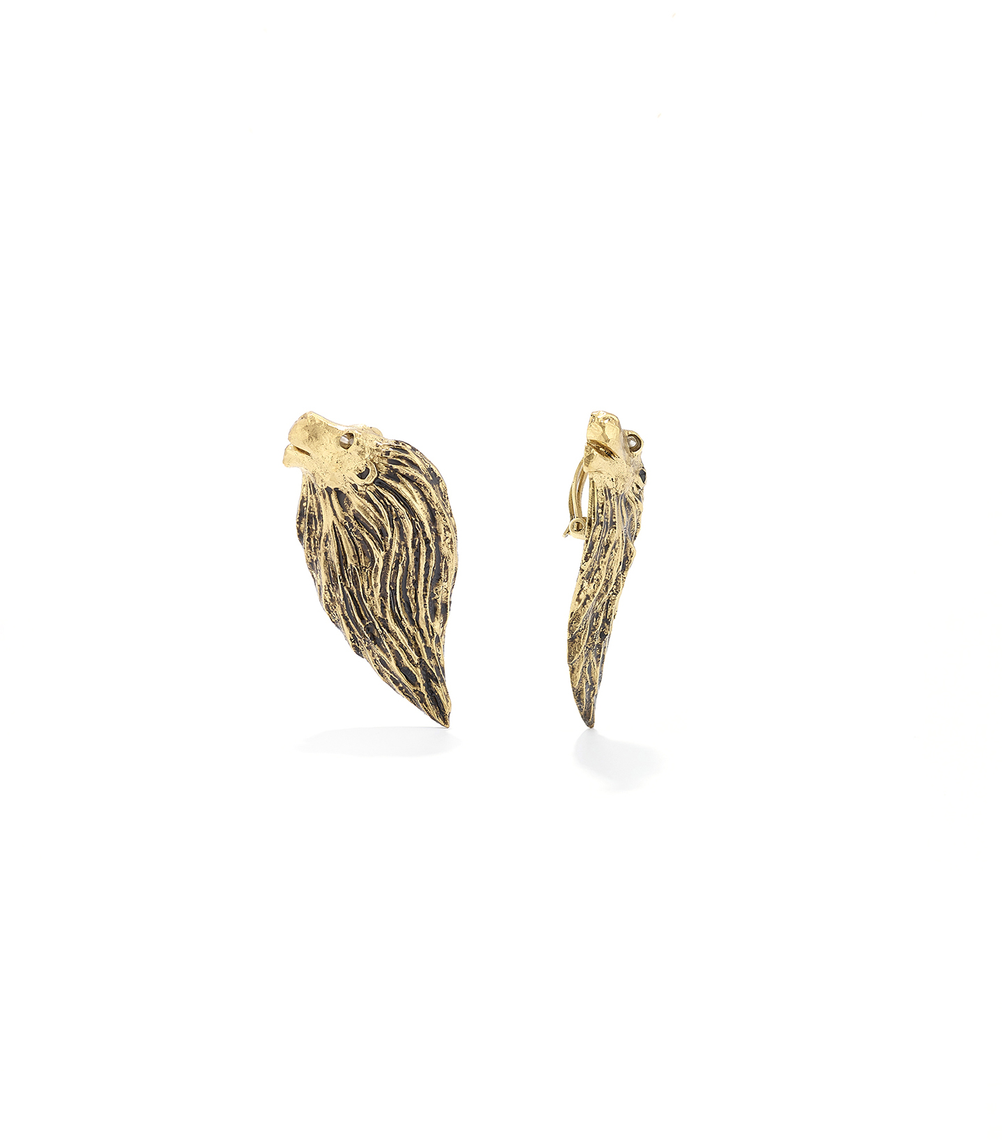Goossens HARUMI KLOSSOWSKA DE ROLA lion earrings Natural Rock Crystal V1